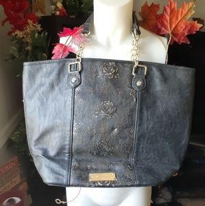 Betsy Johnson black leather Tote bag